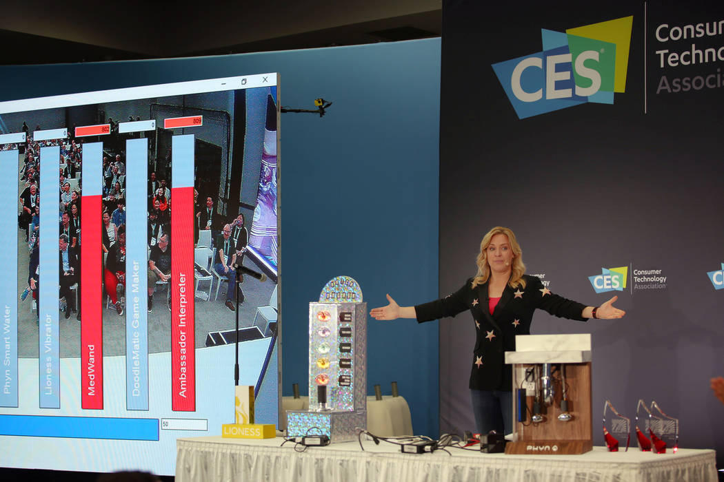Last Gadget Standing host Jennifer Jolly guides the audience in sound metered voting for the wi ...