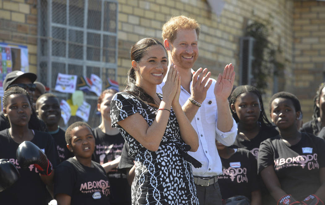 FILE - In this Monday, Sept, 23, 2019 file photo, Britain's Prince Harry and Meghan, Duchess of ...