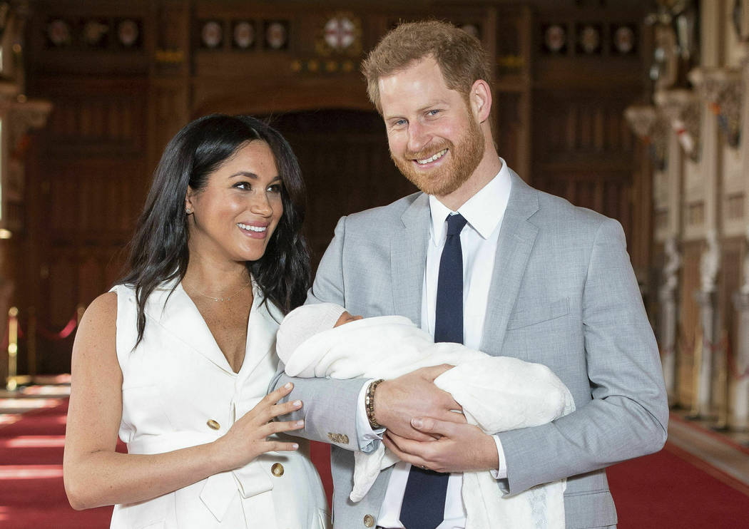 FILE - In this Wednesday May 8, 2019 file photo, Britain's Prince Harry and Meghan, Duchess of ...