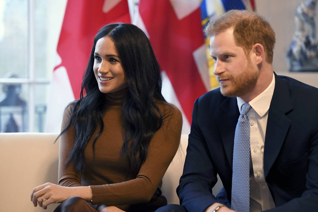 FILE - In this Tuesday, Jan. 7, 2020 file photo, Britain's Prince Harry and Meghan, Duchess of ...