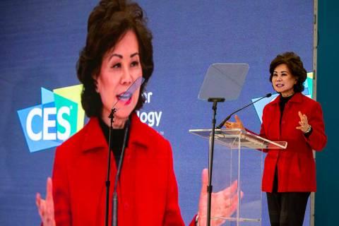 U.S. Secretary of Transportation Elaine Chao talks about technological advances in transportati ...