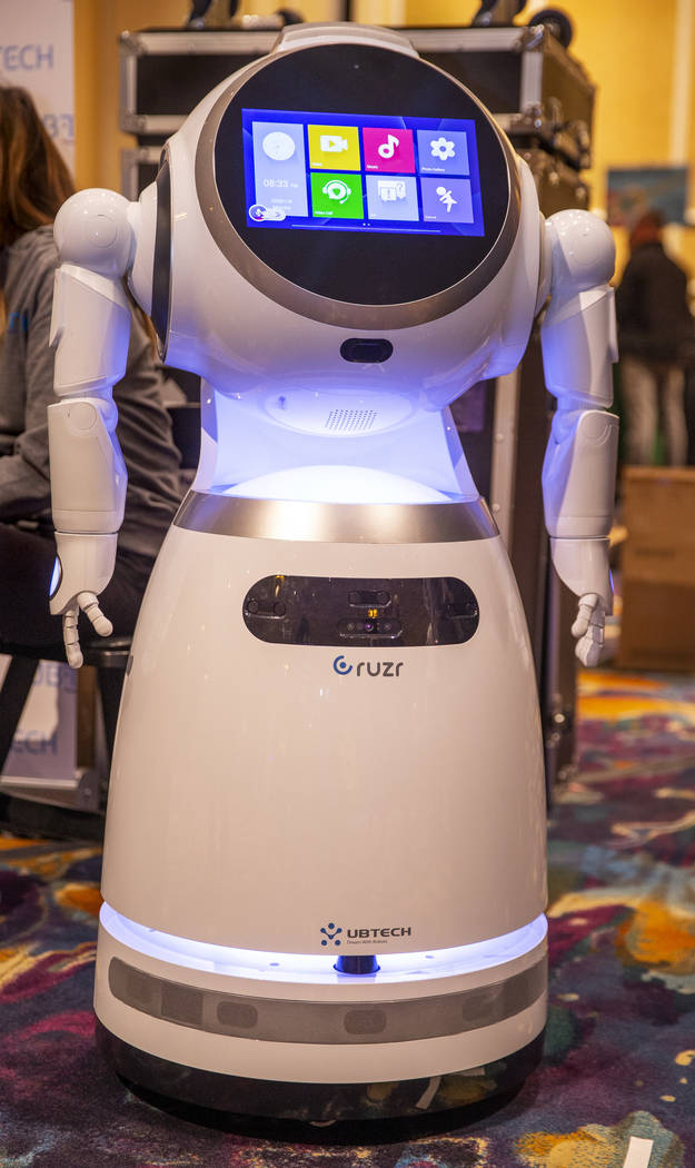 The Cruzr cloud-based intelligent humanoid service robot by UBTECH on display during Pepcom's D ...