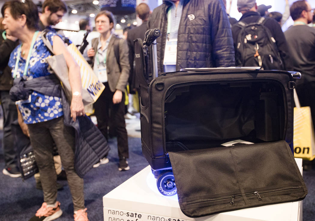 Modobag, a motorized carry-on, at CES at the Las Vegas Convention Center in Las Vegas, Wednesda ...