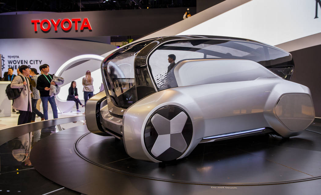 The Hyundai M.Vision S autonomous transportation pod concept vehicle on display in North Hall f ...
