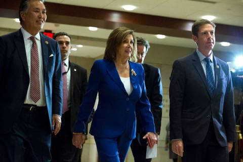 Speaker of the House Nancy Pelosi, D-Calif., accompanied by members of the Congress arrive for ...