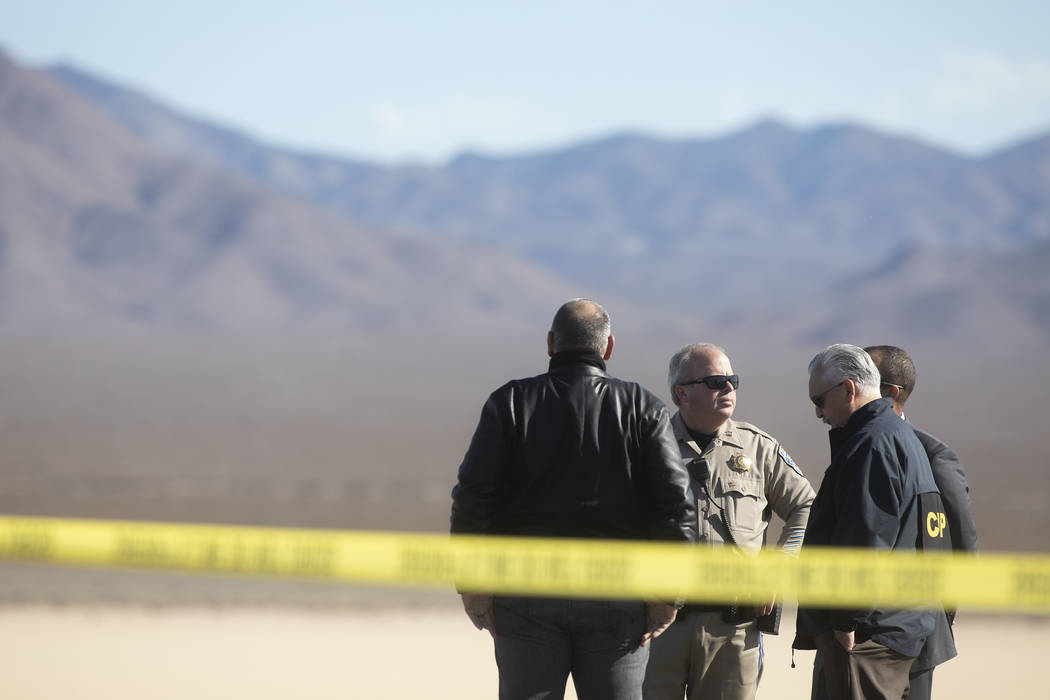 Police are blocking the northbound lanes of Interstate 15 near Primm on Thursday, Jan. 9, 2020, ...