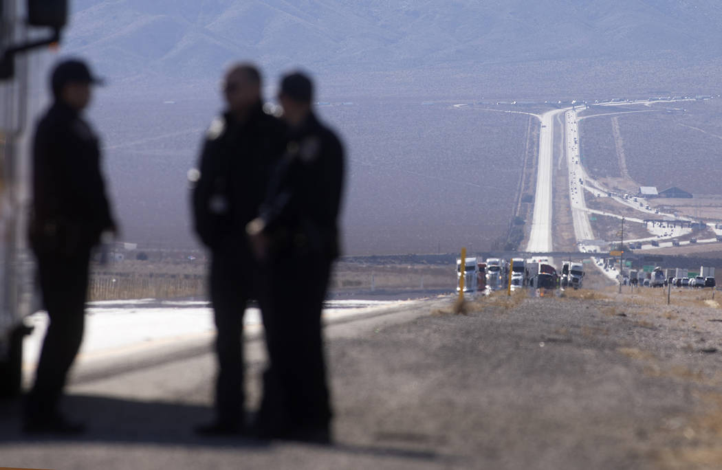 The northbound lanes of Interstate 15 are closed due to police activity near Primm on Thursday, ...