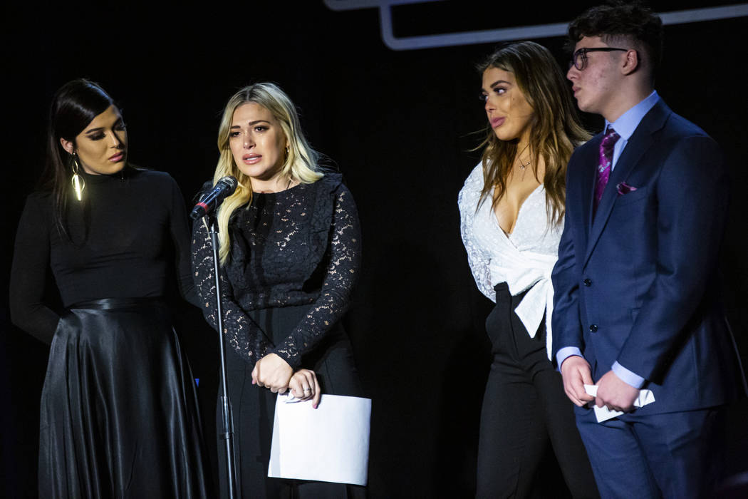 Thalia Trentacarlini, second from left, talks about her father, Trent Carlini, a longtime Elvis ...