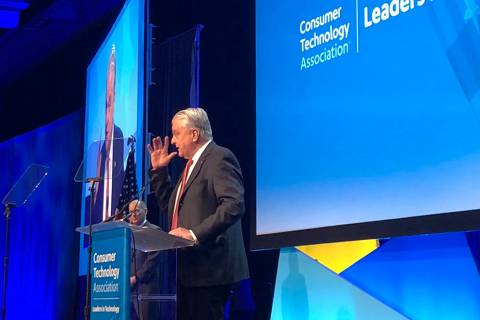 Gov. Steve Sisolak speaks before leaders in the tech industry at the CES 2020 Leaders in Techno ...