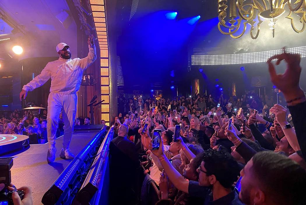 Drake performs at XS Nightclub at Encore on the Strip in Las Vegas in the early morning hours o ...
