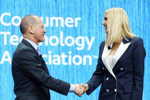 Gary Shapiro, president and CEO of the Consumer Technology Association, shakes Ivanka Trump's h ...