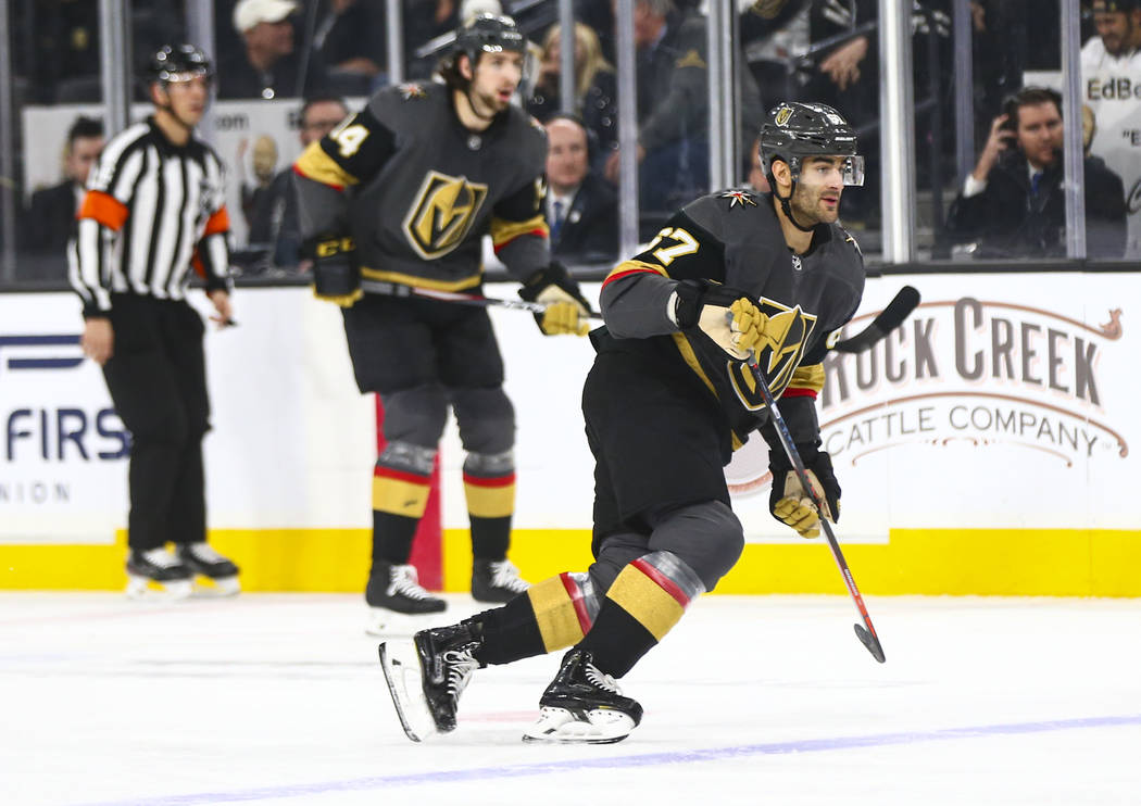 Golden Knights' Max Pacioretty (67) skates after the puck during the first period of an NHL hoc ...
