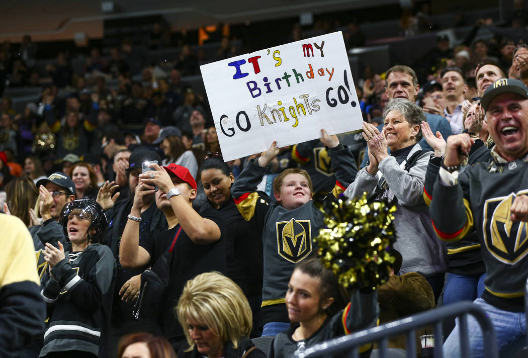 Golden Knights fans celebrate goal by Reilly Smith, not pictured, during the second period of a ...