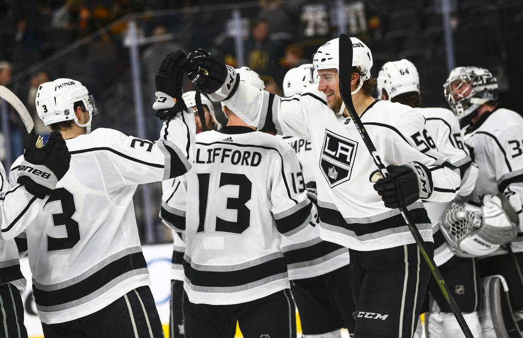 Los Angeles Kings' Kurtis MacDermid (56) celebrates his team's win over the Golden Knights duri ...