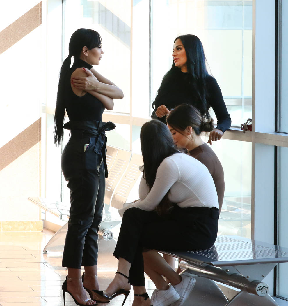 Four women, accused of an attack involving shoes at the Cosmopolitan, are photographed at the R ...