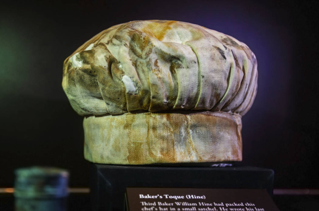 A chef's hat owned by William Hine, a baker on the Titanic, on Thursday, Jan. 9, 2020, at Titan ...