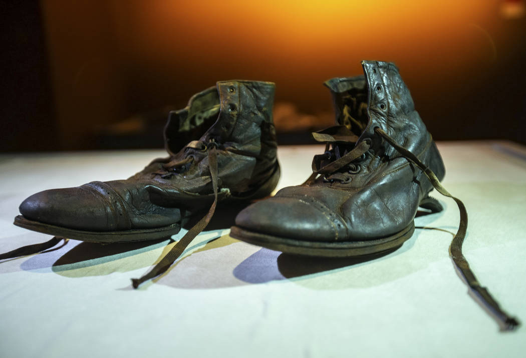 A pair of dress boots worn by William Henry Allen, a third-class passenger on the Titanic, on T ...