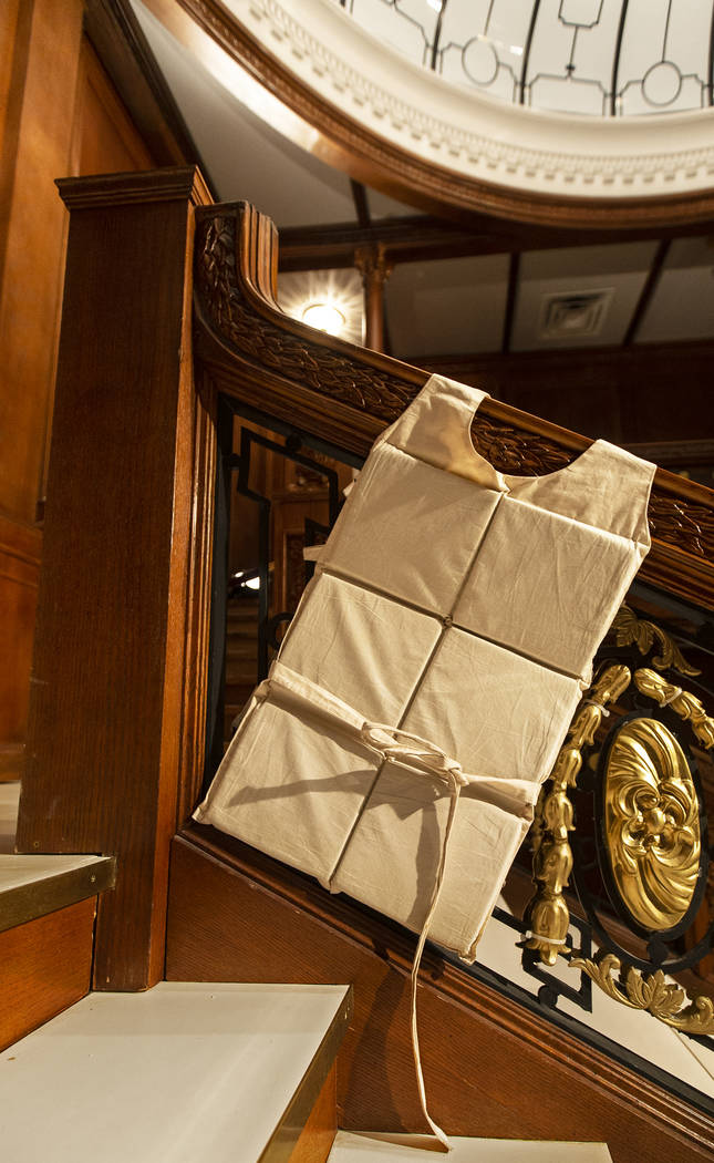 An authentic life vest recovered from the Titanic on Thursday, Jan. 9, 2020, at Titanic: The Ar ...