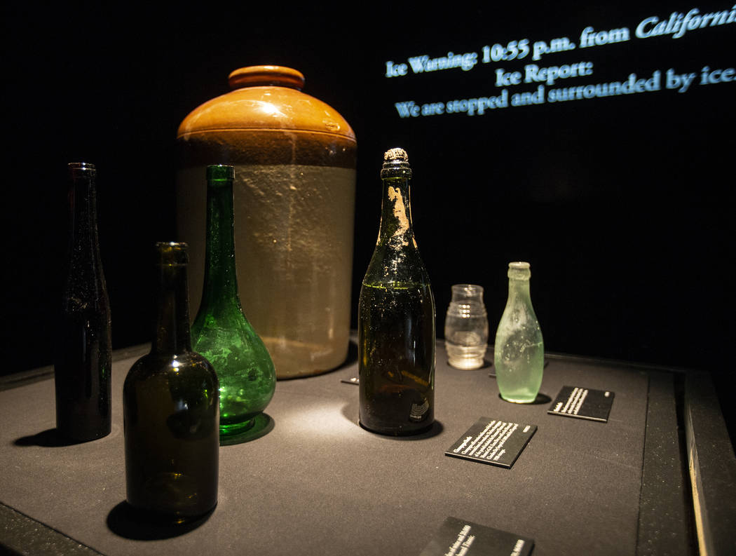 Various bottles found in the debris of the Titanic on Thursday, Jan. 9, 2020, at Titanic: The A ...