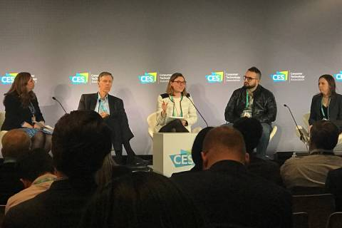 Five panelists discuss whether big-tech companies should be broken up at CES. From left are mod ...