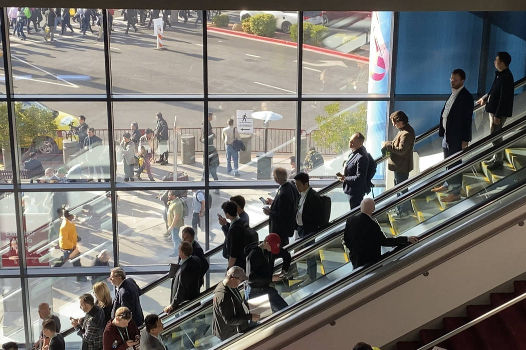CES 2020 conventiongoers navigate their way in and around the south hall of the Las Vegas Conve ...