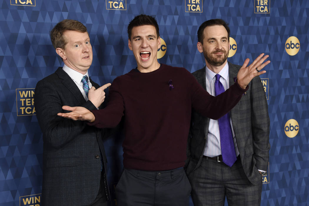 """""""Jeopardy"""" champions, from left, Ken Jennings, James Holzhauer and Brad Rutter, cast ..."""