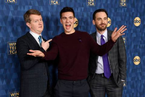 """Jeopardy"" champions, from left, Ken Jennings, James Holzhauer and Brad Rutter, cast ..."
