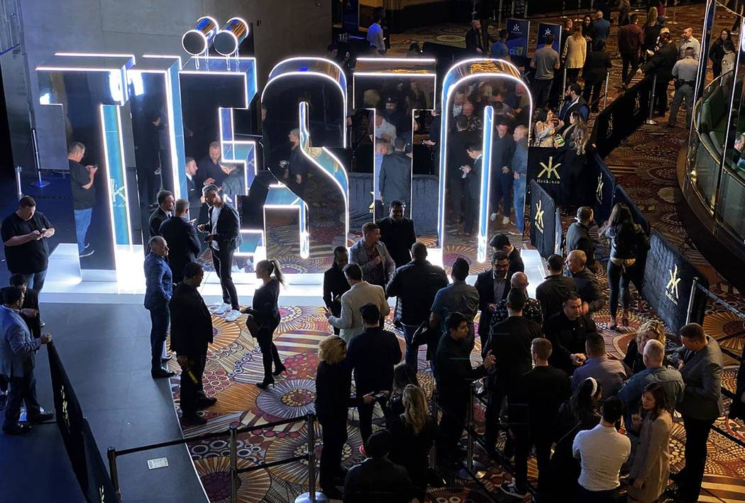 CES conventioneers and clubgoers prepare to watch Tiesto perform during the DreamlandXR Closing ...