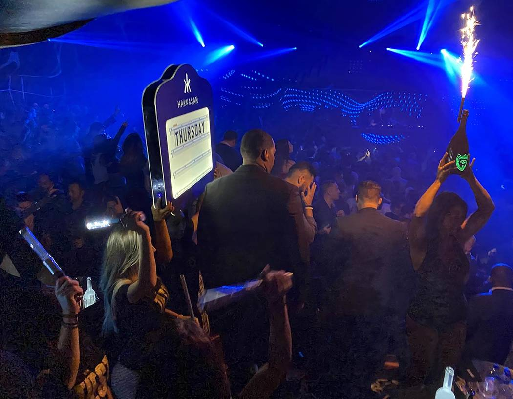 Bottle service delivery during the CES DreamlandXR Closing Night Party at Hakkasan Nightclub at ...