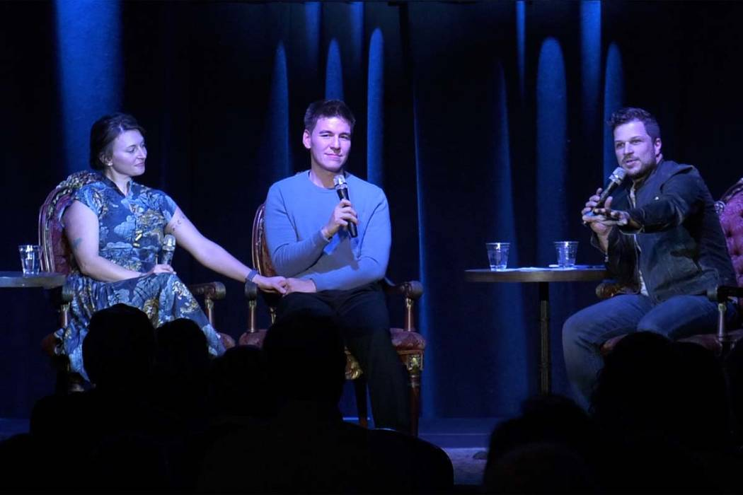 """James Holzhauer, center, and his wife, Melissa, held a watch party for the """"Jeopardy!&#x ..."""
