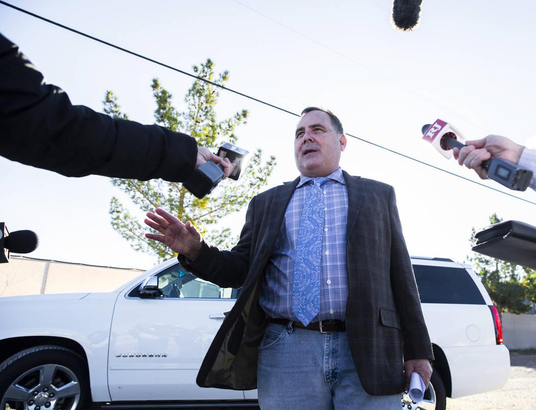 Margaret Rudin's attorney Greg Mulanax speaks outside Florence McClure Women's Correctional Cen ...