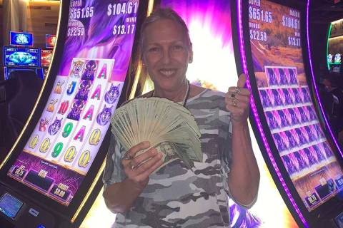 Cathy celebrates her $779,384.13 win at Terrible's Road House Casino in Pahrump. (Terrible's ...