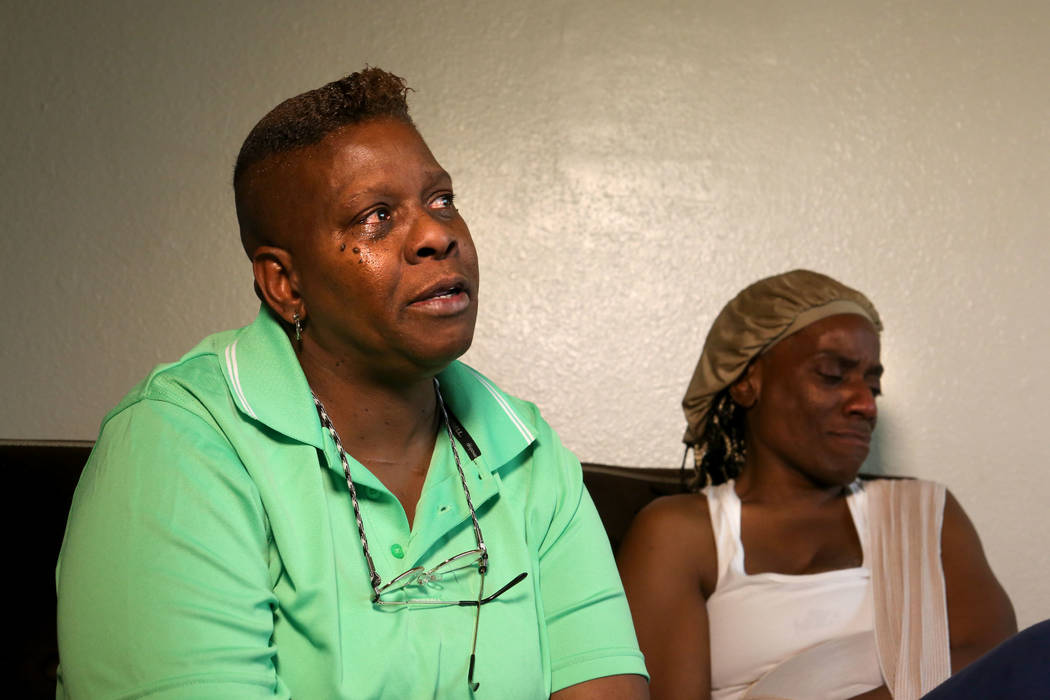 Audrey Palmer, left, talks about escaping the fire at the Alpine Motel Apartments, the deadlies ...