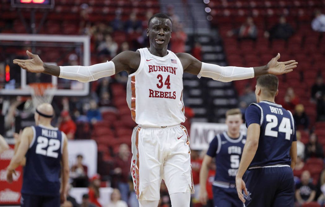 UNLV's Cheikh Mbacke Diong (34) celebrates after a play against Utah State during the second ha ...