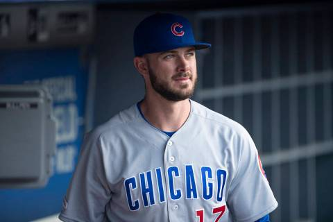 Chicago Cubs Kris Bryant in a baseball game against the Los Angeles Dodgers in Los Angeles, Thu ...