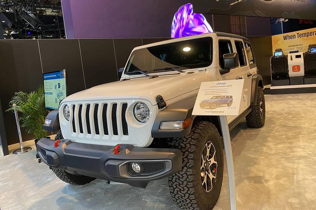 A Jeep Wrangler outfitted with Voxx International's SOLO life sensing technology on display at ...