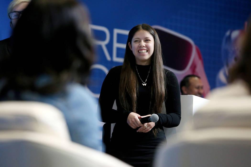 Palo Verde High School senior Gabrielle Floratos, 18, receives a compliment from the judges af ...
