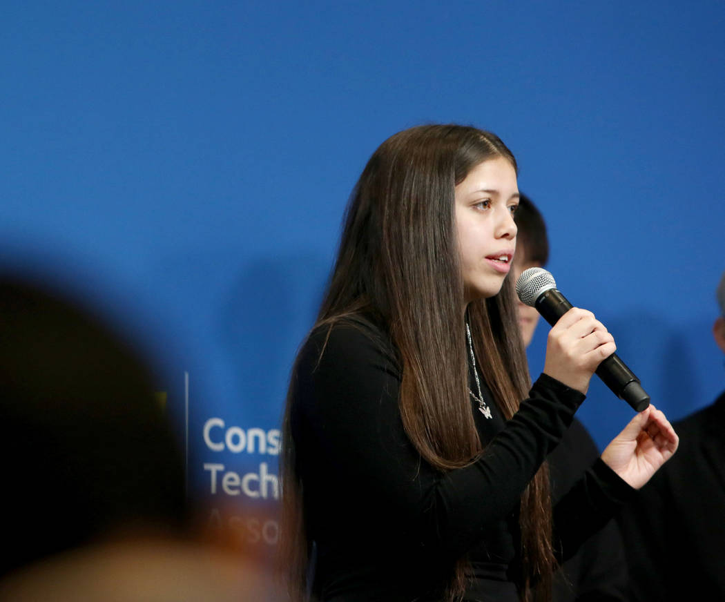 Local Las Vegas students Gabrielle Floratos, 18, pitches her teams app idea during the Student ...