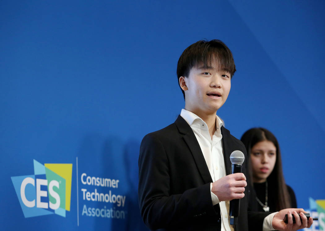 West Career Technical Academy junior James Wang, 16, pitches his teams app idea during the Stud ...