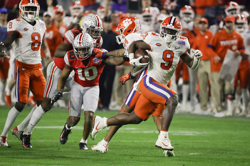 Clemson running back Travis Etienne runs for a touchdown against Ohio State during the second h ...