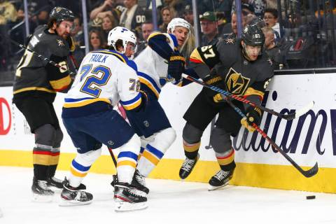 Golden Knights' left wing Max Pacioretty (67) skates with the puck past St. Louis Blues' St. Lo ...