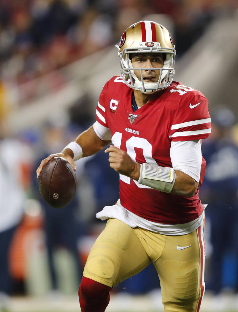 San Francisco 49ers quarterback Jimmy Garoppolo (10) against the Los Angeles Rams during the se ...
