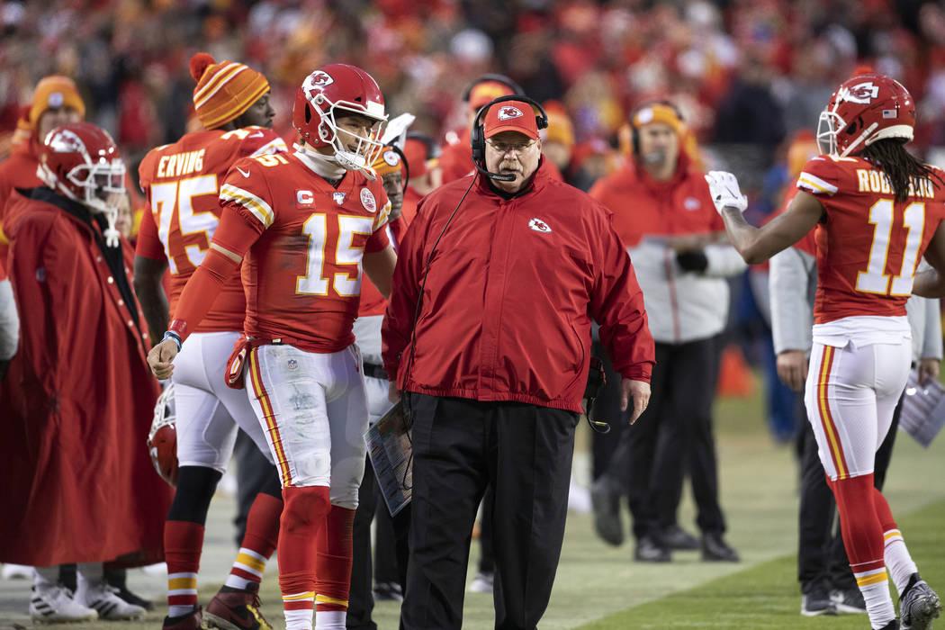 Kansas City Chiefs quarterback Patrick Mahomes (15) and head coach Andy Reid during an NFL divi ...