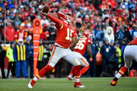 Kansas City Chiefs quarterback Patrick Mahomes (15) during the second half of the NFL AFC Champ ...