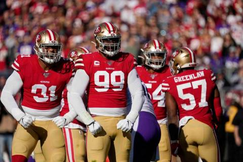 San Francisco 49ers defensive end Arik Armstead, left, and defensive tackle DeForest Buckner (9 ...