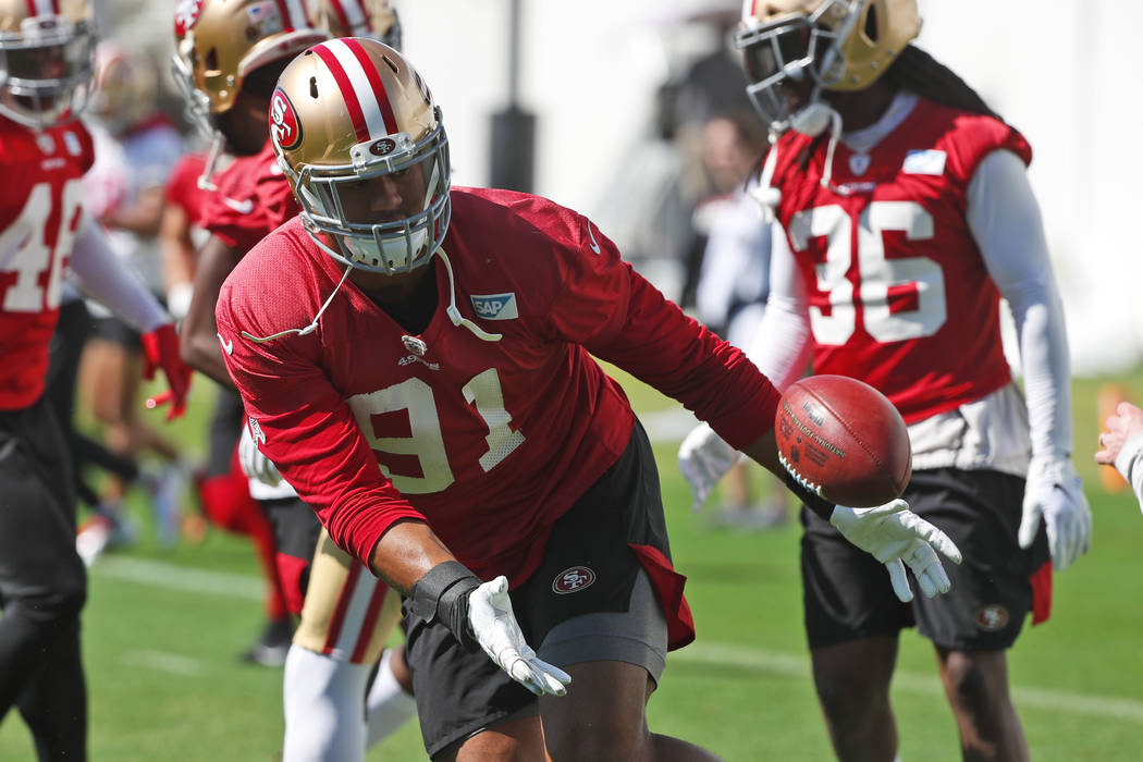 San Francisco 49ers defensive end Arik Armstead (91) warms up during practice, Thursday, Jan. 3 ...