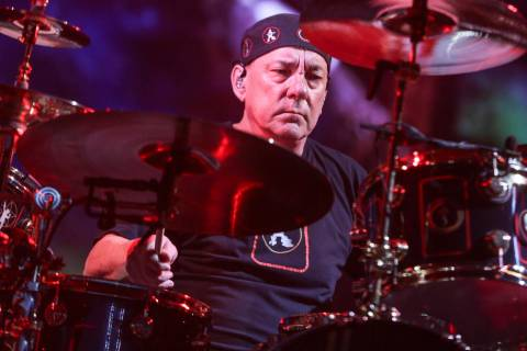 Neil Peart of Rush performing during the final show of the R40 Tour in Los Angeles, Aug. 1, 201 ...