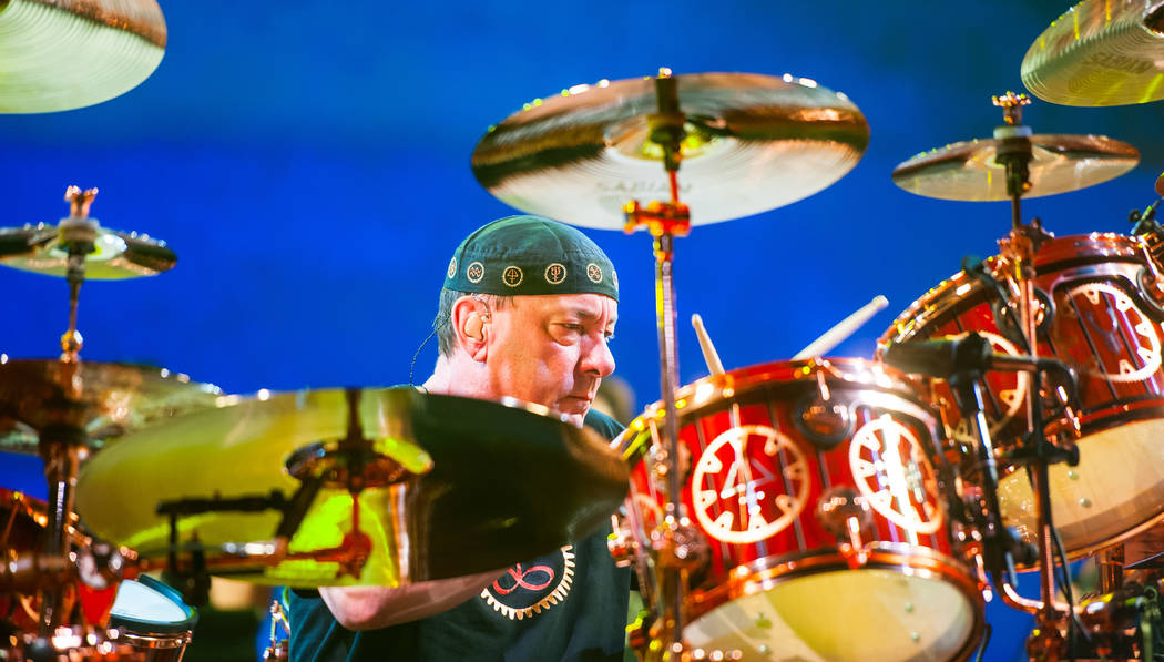 Neil Peart of Rush performing during the the R40 Tour at MGM Grand Garden Arena on July 25, 201 ...