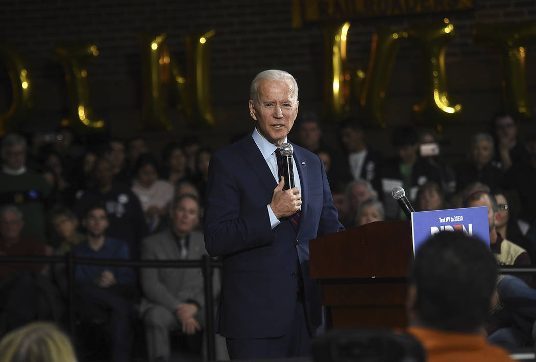 Democratic presidential candidate, former Vice President Joe Biden speaks during a campaign ral ...