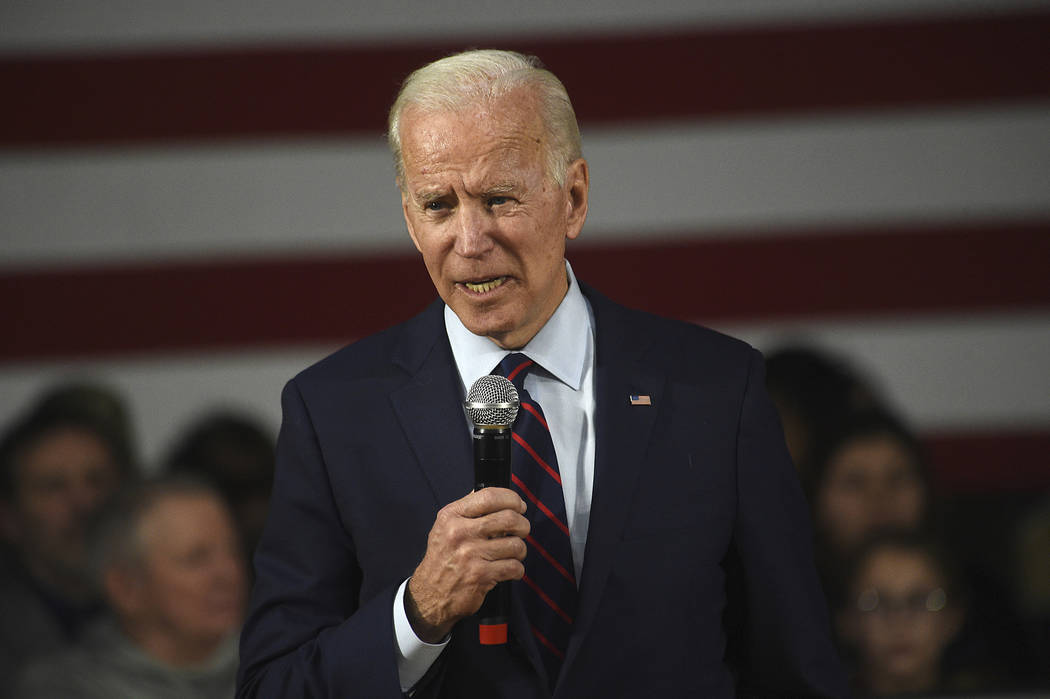 Former Vice President Joe Biden speaks during a campaign rally at Sparks High School in Sparks ...